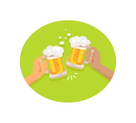 Friends Drinking Beer Shown on Vector Illustration