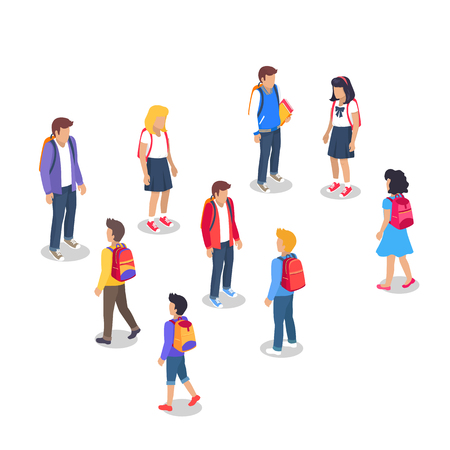 Schoolchildren from Secondary School with Backpack Vetores