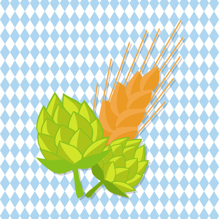 Hop and Golden Ears of Wheat Vector Illustrations