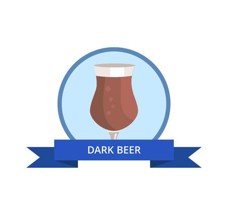 Dark Beer in Tulip Shape Glass Vector Logo Design Illustration
