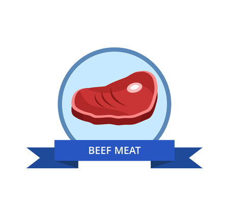 Beef Meat Logo with Bacon Bone Vector Illustration