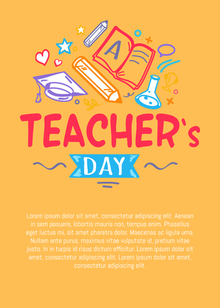 Happy Teachers Day Poster with Icons Silhouettes Illustration