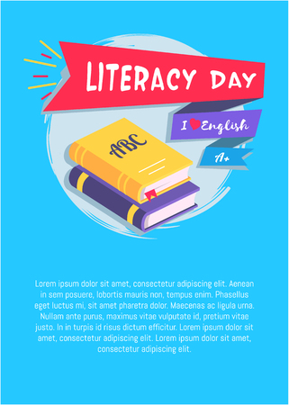 Literacy Day I Love English Poster with Textbooks