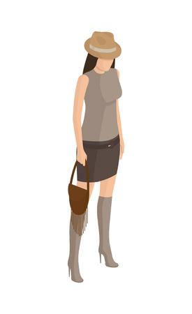 Woman on High Heels, in Short Skirt T-shirt Vector