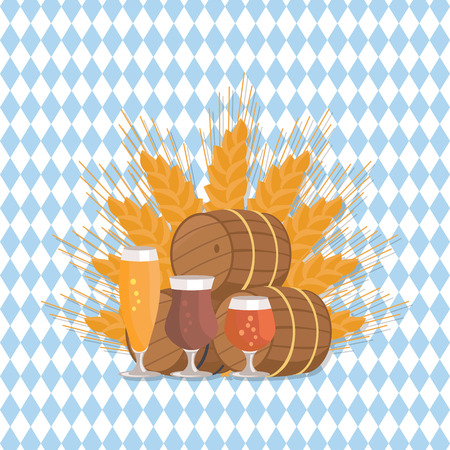 Beer Digustation at Octoberfest Vector Illustation