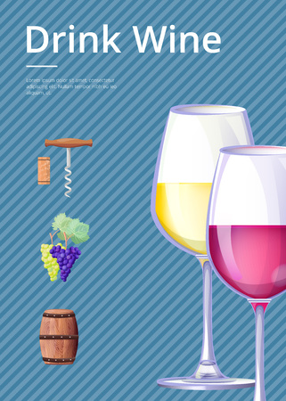 Drink Wine Poster Vector Illustration on Blue