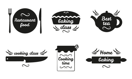 Collection of Cooking Labels with Text on White Vectores