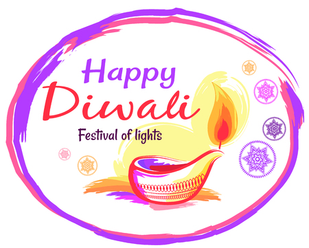 Happy Diwali Poster with White Background and Text Illustration