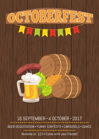 Octoberfest Poster with Wooden Background and Text Imagens - 90466009