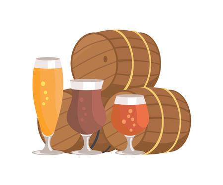 Three Beer Barrels Degustation Vector Illustation Çizim