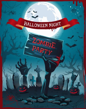 Halloween Night and Zombie Party Spooky Poster