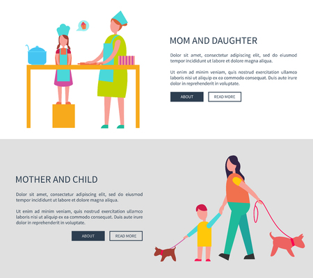 Mom and Daughter, Mother with Child Vector Web Set Illustration
