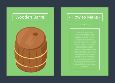 How to Make Wooden Barrel Set of Posters with Text Stock Vector - 90466259