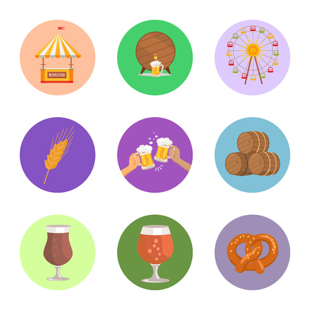 Circled Images Food and Beer Vector Illustration Illustration