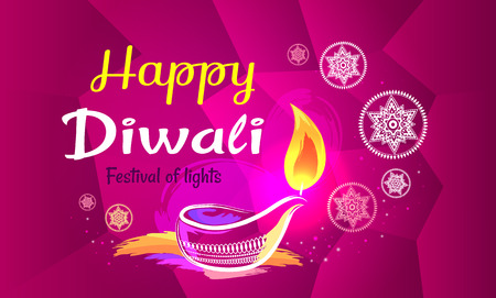 Happy Diwali Poster with Purple Pattern Backdrop