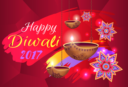 Happy Diwali 2017 banner with text. Isolated vector illustration of flowers with colorful pattern and glowing oil lamps on red pattern background