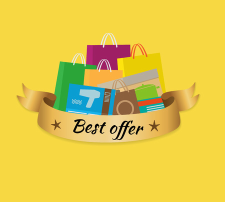 Best offer banner with inscription depicting stack of purchases. Isolated vector illustration of heap of colorful shopping bags on yellow background