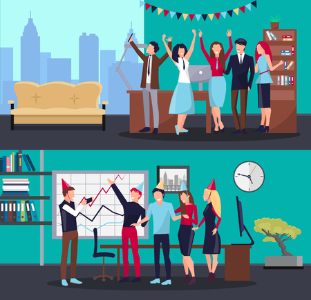 Corporate party in office with colleagues, flags and celebrating hats, sofa and table, clock and computer, cityscape and shelves on vector illustration Illustration