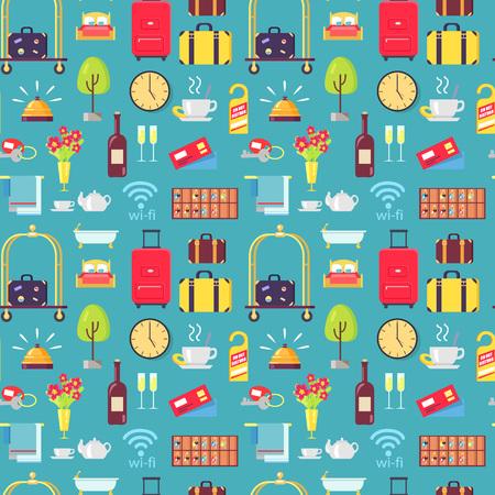 Modèle sans couture hôtel trucs avec bagages, panier, vin, ne pas déranger les signes, les fleurs et les cloches. Illustration vectorielle de trucs de motel sur fond bleu