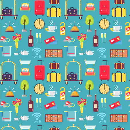 Hotel stuff seamless pattern with baggage, bellman cart, wine, do not disturb signs, flowers and bells. Vector illustration of motel stuff on blue background