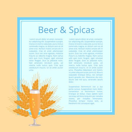 小麦の耳の背景にガラスのビールとスパイスのポスターとテキストのための場所。透明なガラス製品のさわやかなアルコール飲料