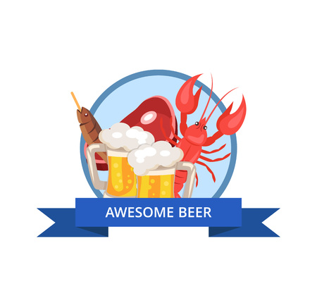 Awesome beer, icon representing two mugs, lobster and slice of ham, fried fish situated in circle on vector illustration isolated on white