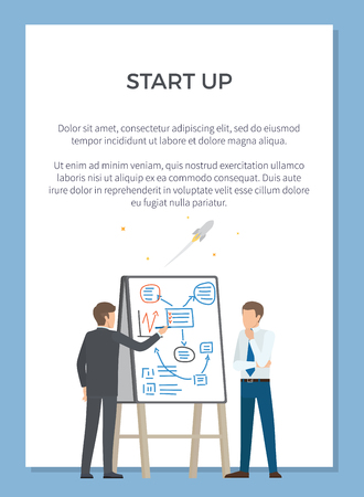 Startup poster with one man representing plan to another one using flipchart. Vector illustration with two colleagues on white background in blue frame