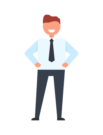 Happy businessman wearing white shirt, black tie and trousers, standing with happy smile on his face vector illustration isolated on white