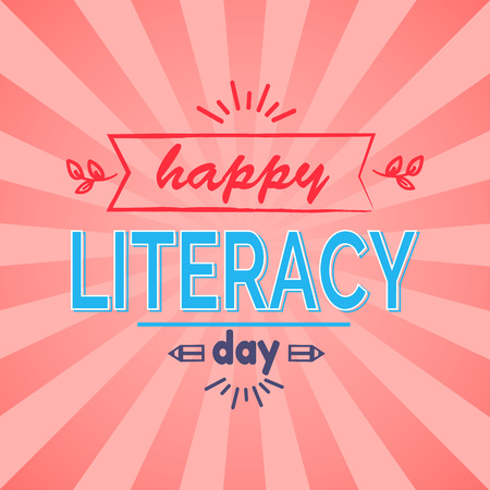 Happy Literacy Day wish with leafs and doodles. Vector illustration contains multicolored text on bright pink background with rays