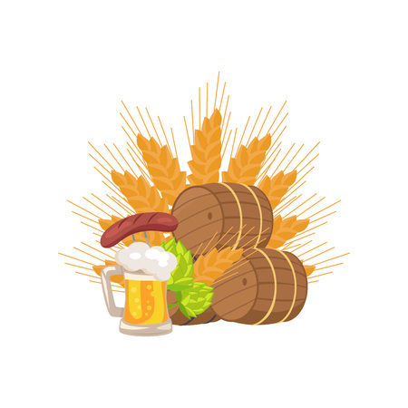 Isolated vector illustration of wooden casks, beer mug, fried sausage, green hop and wheat ear on white background, Oktoberfest or Octoberfest Illustration