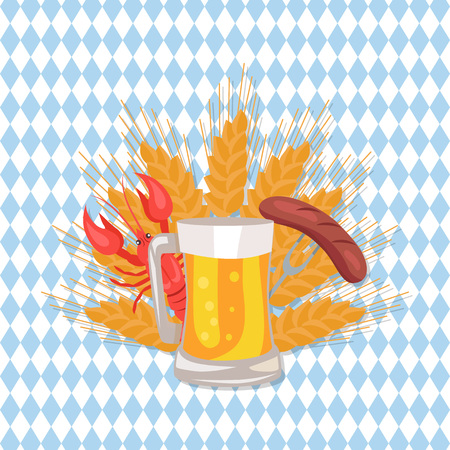 Glass of beer with grilled sausage on folk, cooked red crayfish on ears of wheat vector poster design for Oktoberfest festival on checkered background Illustration