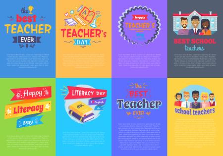 Vivid Posters on School Theme Vector Illustration set Illustration