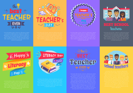 Vivid Posters on School Theme Vector Illustration set Ilustração