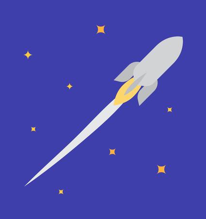 Jet Rocket in Open Space Vector Illustration