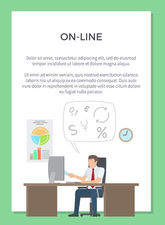 Online Working Poster Vector Illustration