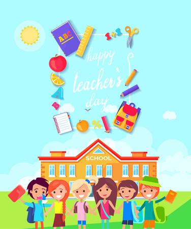 Gelukkige lerarendag kleurrijke vectorillustratie