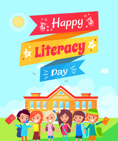 Happy literacy day written on ribbon with star and bell icons in it, including children with backpack on the foretground vector illustration