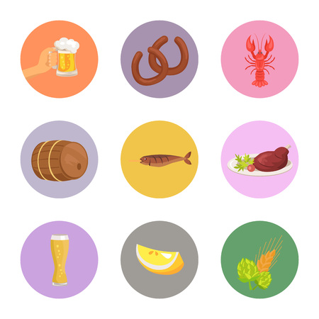 Food and Drinks Vector Illustration set