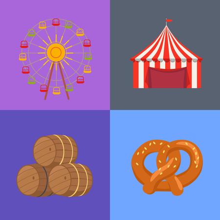 Four Picture Set Beerfest Vector Illustration