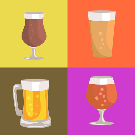 Different Types of Beer Vector Illustration