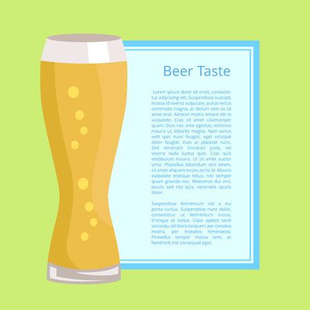 Beer Taste Poster on Green Vector Illustration Иллюстрация