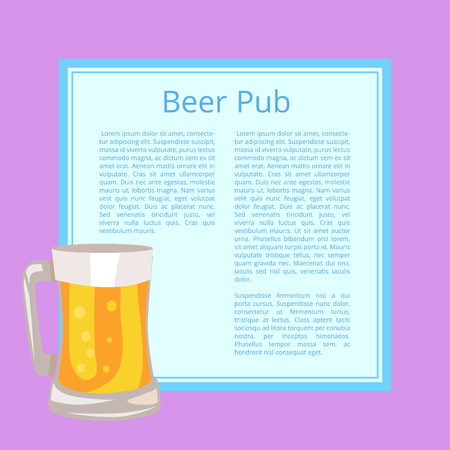 Beer Pub Poster with Text Depicting Full Glass Mug vector