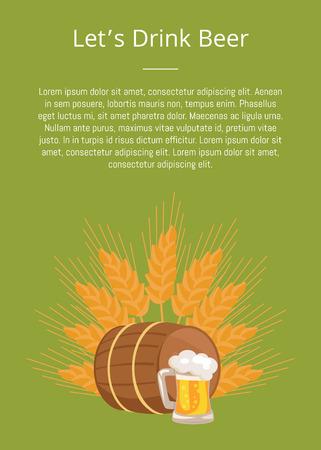 Lets Drink Beer Poster with Wooden Barrel Beverage vector