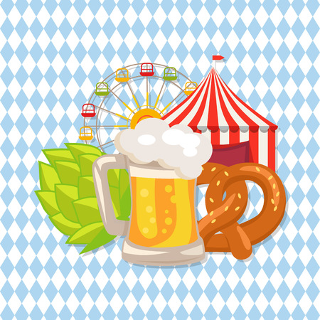 Closeup Vector Illustration of Beer and Food