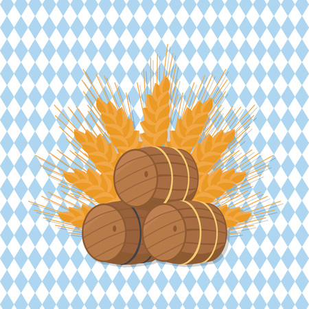 Vector Illustration of Beer Barrels at Octoberfest