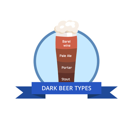 Dark Beer Types vector Illustration