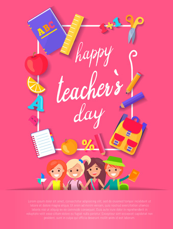 Happy Teacher s Day Postcard Vector Illustration