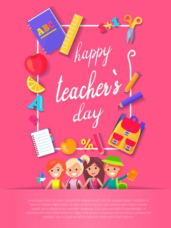 Happy Teacher s Day Postcard Vector Illustration