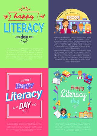 Set of four vivid placards dedicated to literacy day with frames and ribbons, text sample and icons of fruits, books and pens vector illustration Ilustrace