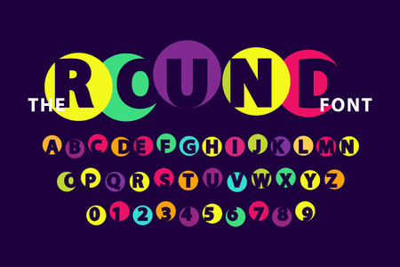 Colorful round font isolated vector illustration on dark purple background. Capital English letters with Arabic numerals below, creative alphabet Ilustração